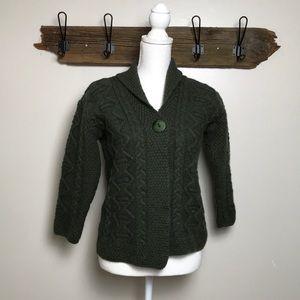 Irish Sweater Cardigan Inis Crafts 100% Wool EUC
